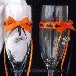motorcycle wedding toasting flutes